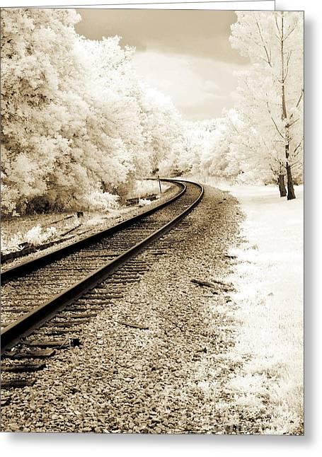 Print On Canvas Greeting Cards - Surreal Sepia Infrared Landscape Railroad Tracks Greeting Card by Kathy Fornal