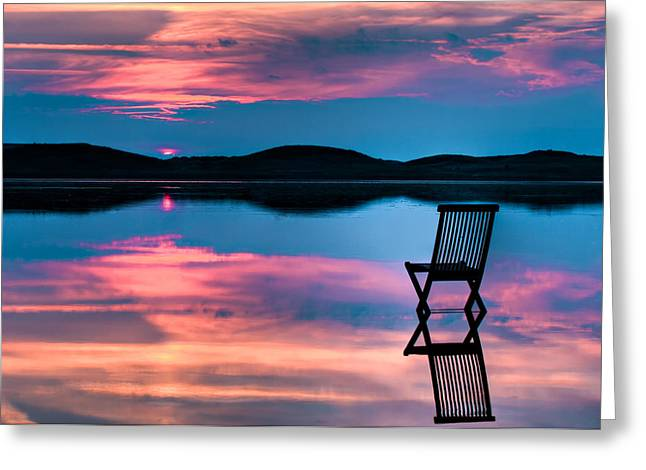 Chair Greeting Cards - Surreal Sunset Greeting Card by Gert Lavsen