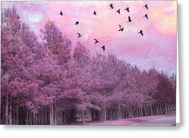 Surreal Pink Nature Prints By Kathy Fornal Greeting Cards - Surreal Trees Birds Pink Fantasy Nature Greeting Card by Kathy Fornal