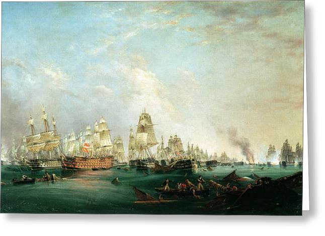 Naval History Greeting Cards - Surrender of the Santissima Trinidad to Neptune The Battle of Trafalgar Greeting Card by Lieutenant Robert Strickland Thomas