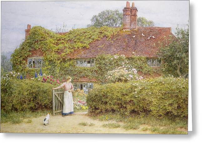 Surrey Greeting Cards - Surrey Cottage Greeting Card by Helen Allingham