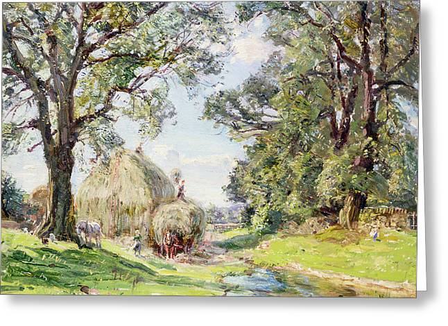 Pasture Scenes Paintings Greeting Cards - Surrey Landscape  Greeting Card by Edmund George Warren