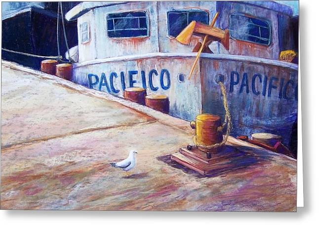 Fishing Boats Pastels Greeting Cards - Surveying the Fleet Greeting Card by Candy Mayer