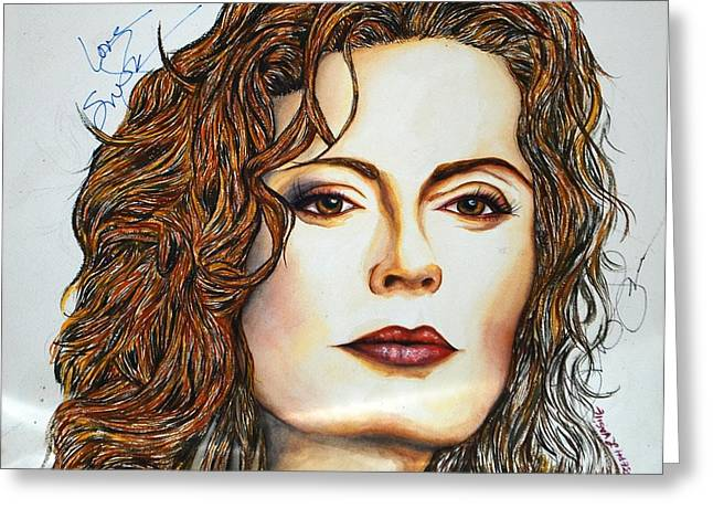 Autographed Mixed Media Greeting Cards - Susan Sarandon Greeting Card by Joseph Lawrence Vasile