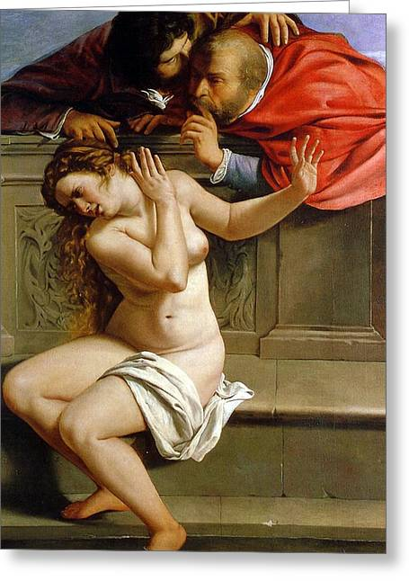 Lust Greeting Cards - Susannah and the Elders Greeting Card by Artemisia Gentileschi