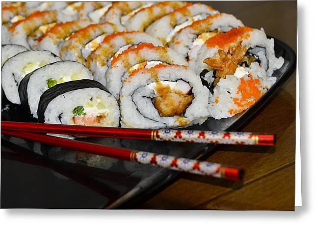 American Food Photographs Greeting Cards - Sushi and Chopsticks Greeting Card by Carolyn Marshall