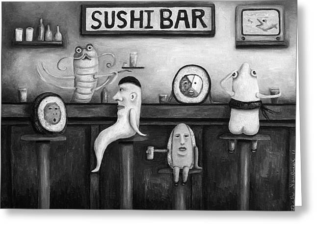 Sushi Bar Bw Version Greeting Card by Leah Saulnier The Painting Maniac