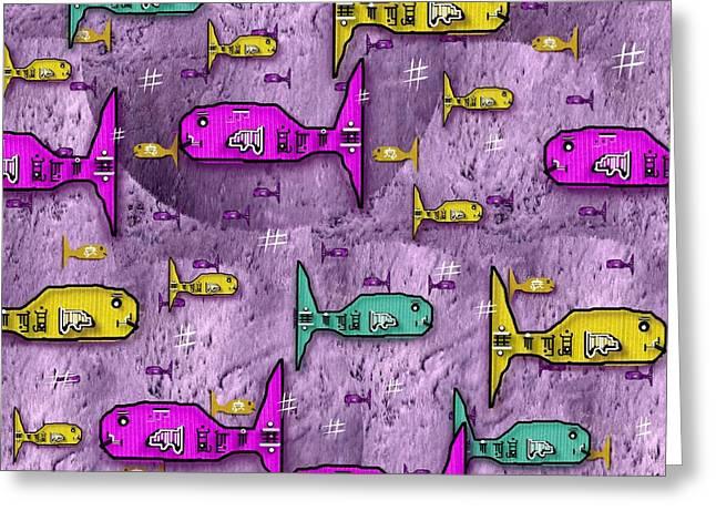 Decorative Fish Mixed Media Greeting Cards - Sushi naturelle Greeting Card by Pepita Selles