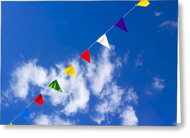 Adorning Greeting Cards - Suspended festive flags. Greeting Card by Bernard Jaubert