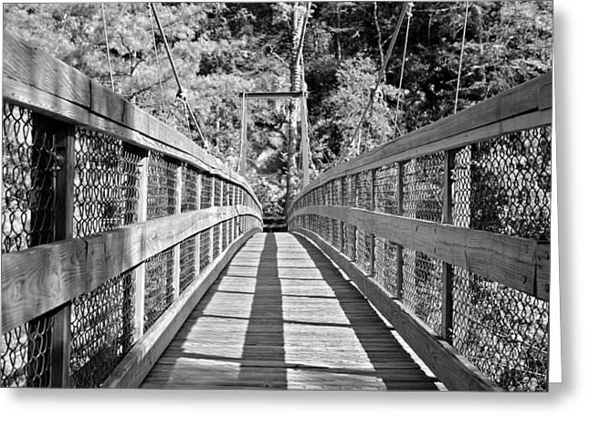 Suspension Bridge Greeting Card by Susan Leggett