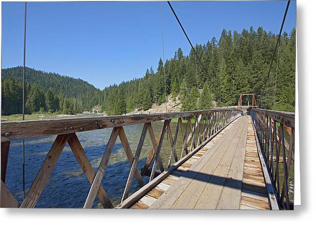 Us Open Photographs Greeting Cards - Suspension Foot Bridge Over The Lochsa Greeting Card by Douglas Orton