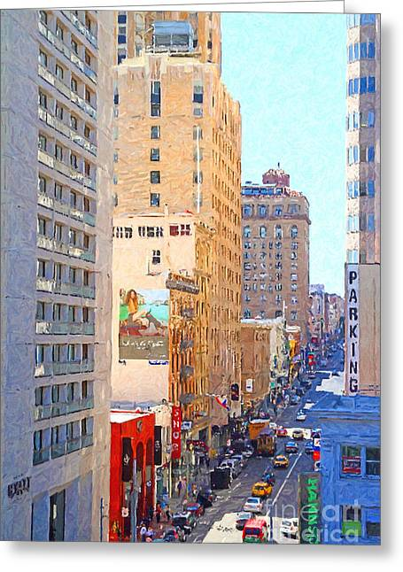 Hyatt Hotel Greeting Cards - Sutter Street San Francisco Greeting Card by Wingsdomain Art and Photography