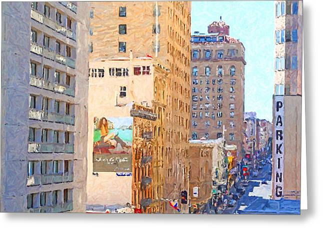 Sutter Street San Francisco Greeting Card by Wingsdomain Art and Photography