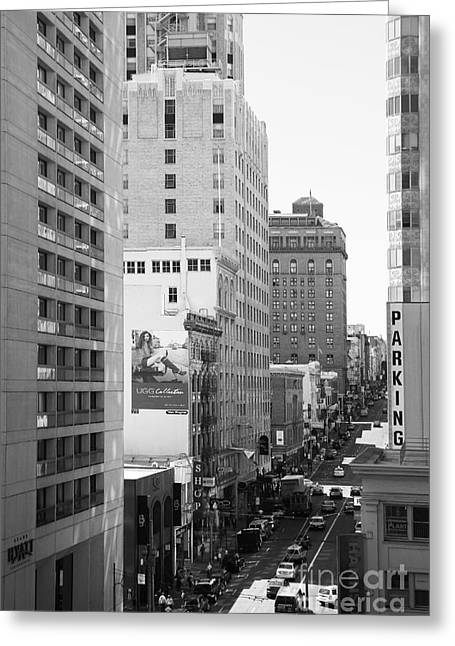 Hyatt Hotel Greeting Cards - Sutter Street West View . Black and White Photograph 7D7506 Greeting Card by Wingsdomain Art and Photography