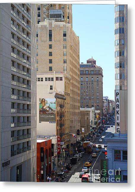 Stockton Street Greeting Cards - Sutter Street West View Greeting Card by Wingsdomain Art and Photography