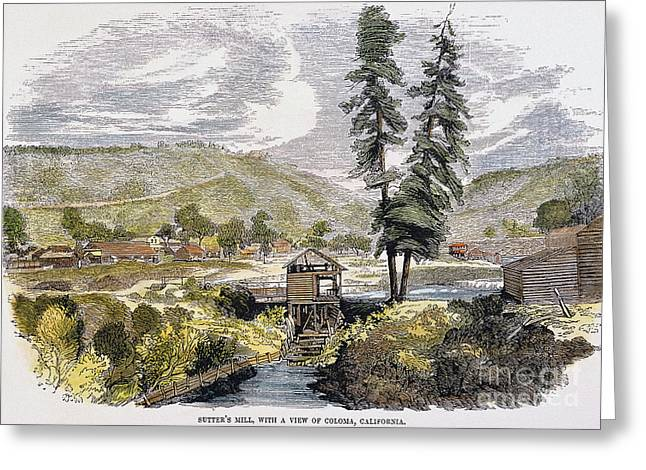 Destiny Greeting Cards - SUTTERS MILL, 1848. /nJohn A. Sutters sawmill at Coloma, California, where James W. Marshall discovered gold on 24 January 1848. Contemporary color engraving Greeting Card by Granger