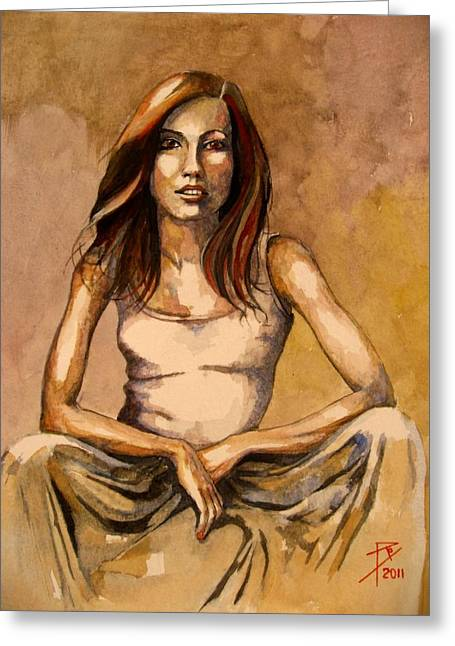Long Skirt Greeting Cards - Suzanne Greeting Card by Ray Agius