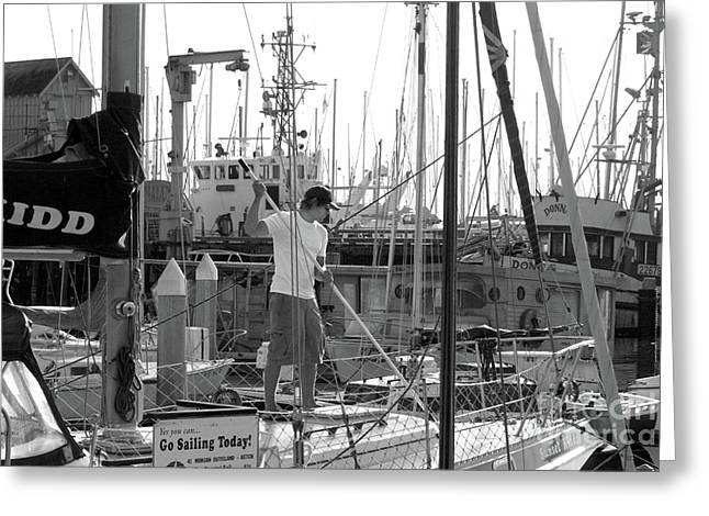 Boats In Harbor Greeting Cards - Swabbing The Deck Greeting Card by Betty LaRue