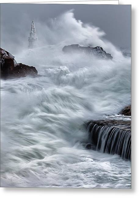 Coastal Lighthouses Greeting Cards - Swallowed By The Sea Greeting Card by Evgeni Dinev