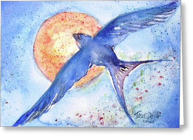 Mud Nest Greeting Cards - Swallows Return  Greeting Card by Trudi Doyle