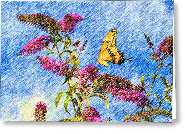 Swallowtail And Butterfly Bush Greeting Card by Heidi Smith