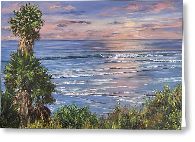 Surf Art Greeting Cards - Swamis Sunset Greeting Card by Lisa Reinhardt
