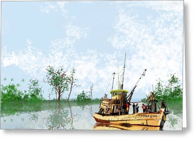 Swamp Drawings Greeting Cards - Swamp Boat Greeting Card by Jim Hubbard