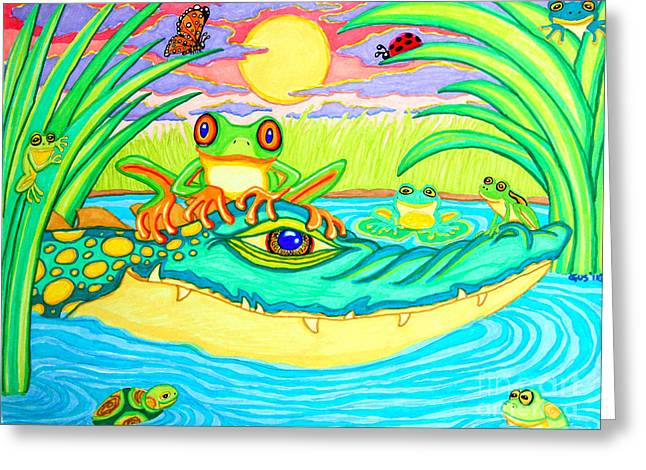 Swamp Drawings Greeting Cards - Swamp Life Greeting Card by Nick Gustafson