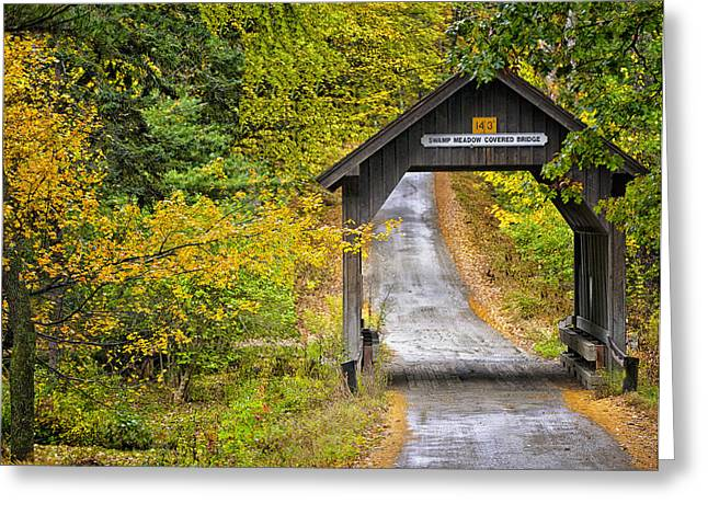 Covered Bridge Greeting Cards - Swamp Meadow Greeting Card by Vicki Jauron