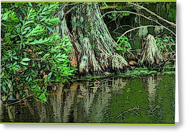 Cypress Tree Digital Art Greeting Cards - Swamp Waters Greeting Card by Mindy Newman