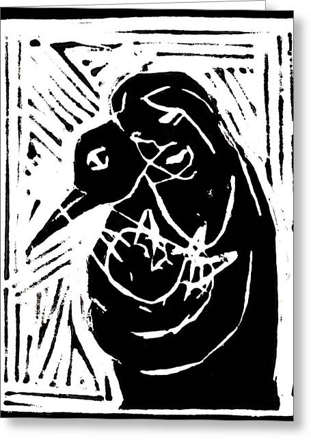 Lino Paintings Greeting Cards - Swan and Human Mothers Greeting Card by Anon Artist