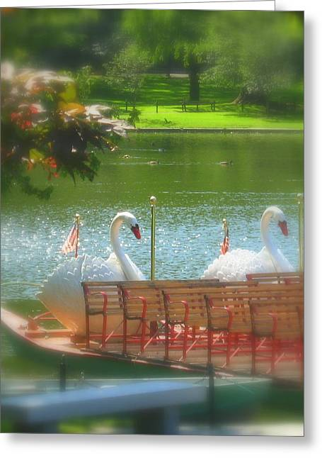 Swans... Greeting Cards - Swan Boat Greeting Card by Bruce Carpenter