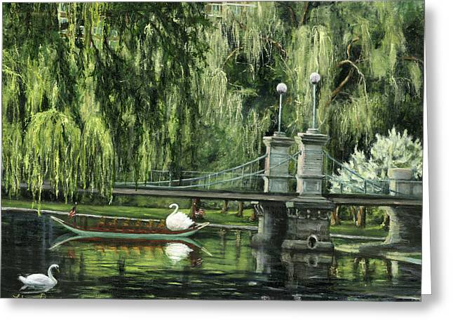 Willow Lake Greeting Cards - Swan Boats Greeting Card by Lisa Reinhardt