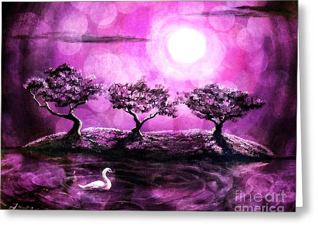 Pink Digital Greeting Cards - Swan in a Magical Lake Greeting Card by Laura Iverson