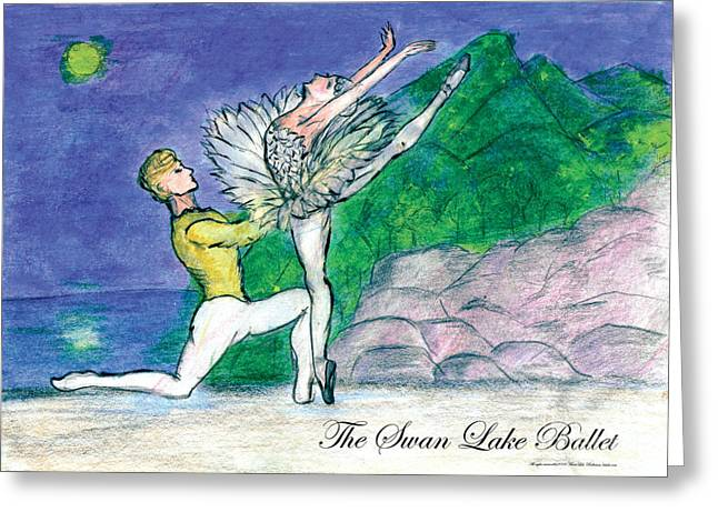Swan Lake Ballet Greeting Card by Marie Loh