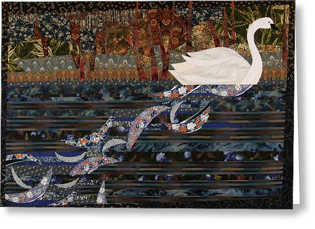 Animal Tapestries - Textiles Greeting Cards - Swan Wake Greeting Card by Linda Beach