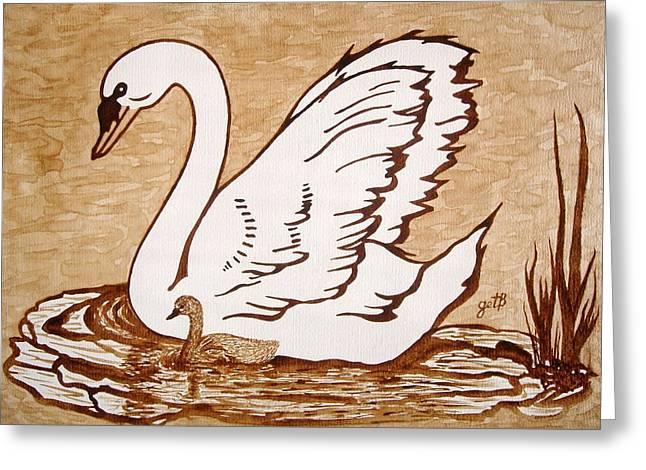 Swan With Chick Original Coffee Painting Greeting Card by Georgeta  Blanaru