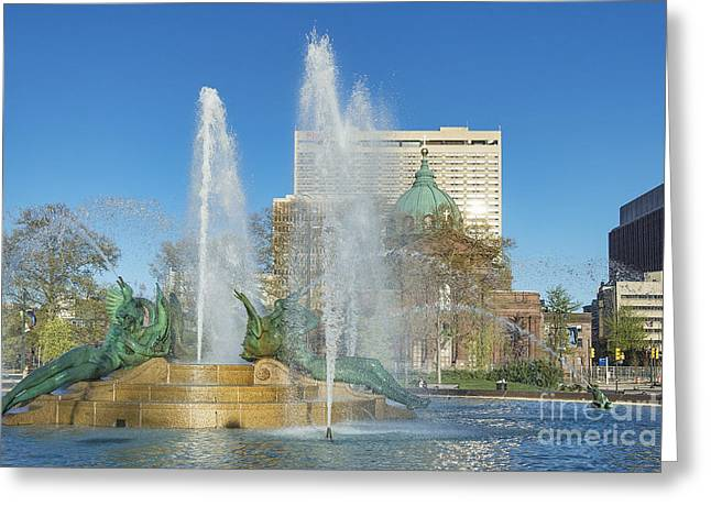 Phillies Art Photographs Greeting Cards - Swann Fountain at Logans Circle Greeting Card by John Greim