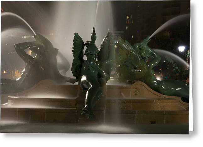 Swann Greeting Cards - Swann Fountain at Night Greeting Card by Bill Cannon