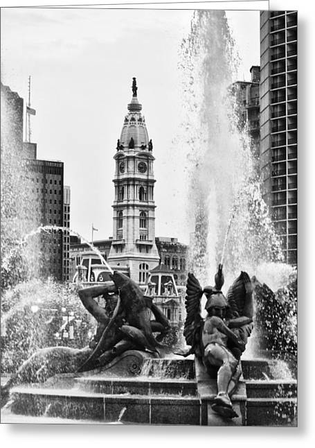 William Penn Digital Art Greeting Cards - Swann Memorial Fountain in Black and White Greeting Card by Bill Cannon