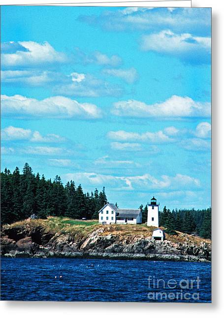 New England Lighthouse Greeting Cards - Swans Island Lighthouse Greeting Card by Thomas R Fletcher