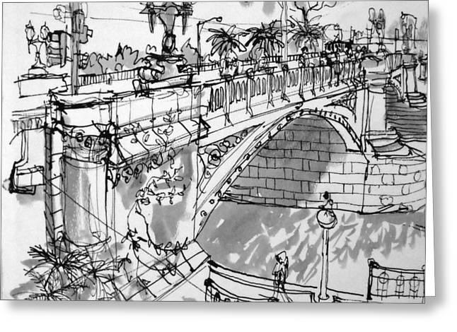 Mclean Greeting Cards - Swanston St Bridge Greeting Card by Richard Mclean