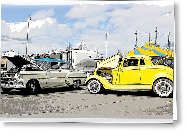 1934 Dodge Greeting Cards - Swap Meet Plymouth and Chevy  Greeting Card by Steve McKinzie