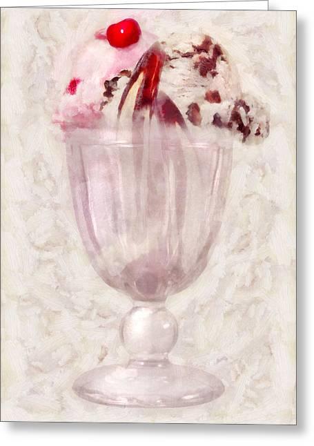 Vanilla Ice Cream Greeting Cards - Sweet - Ice Cream - Ice cream sundae Greeting Card by Mike Savad