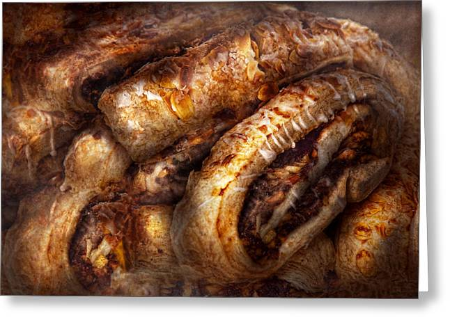 Sweet - Strudel - Almond Strudel Abstract Greeting Card by Mike Savad