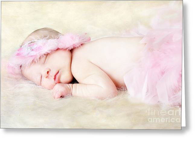 Best Sellers -  - Flower Pink Fairy Child Greeting Cards - Sweet Baby Girl Greeting Card by Darren Fisher