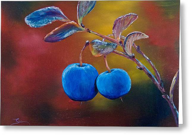 Blueberry Paintings Greeting Cards - Sweet Blueberries Greeting Card by Dee Carpenter