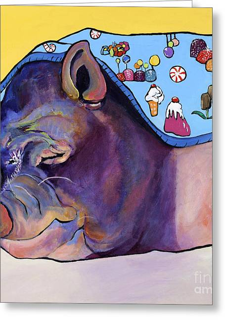 Porcine Animal Greeting Cards - Sweet Dreams  Greeting Card by Pat Saunders-White