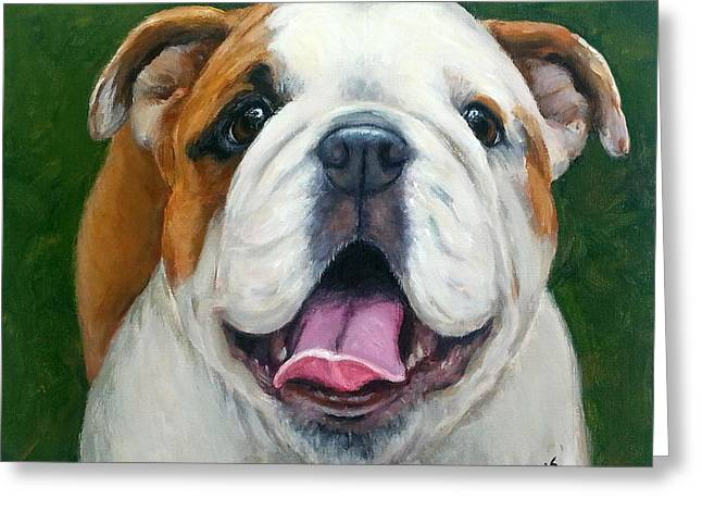 Bully Paintings Greeting Cards - Sweet Little English Bulldog Greeting Card by Dottie Dracos