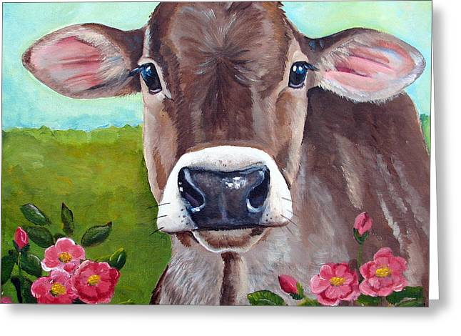 Steer Greeting Cards - Sweet Matilda Greeting Card by Laura Carey